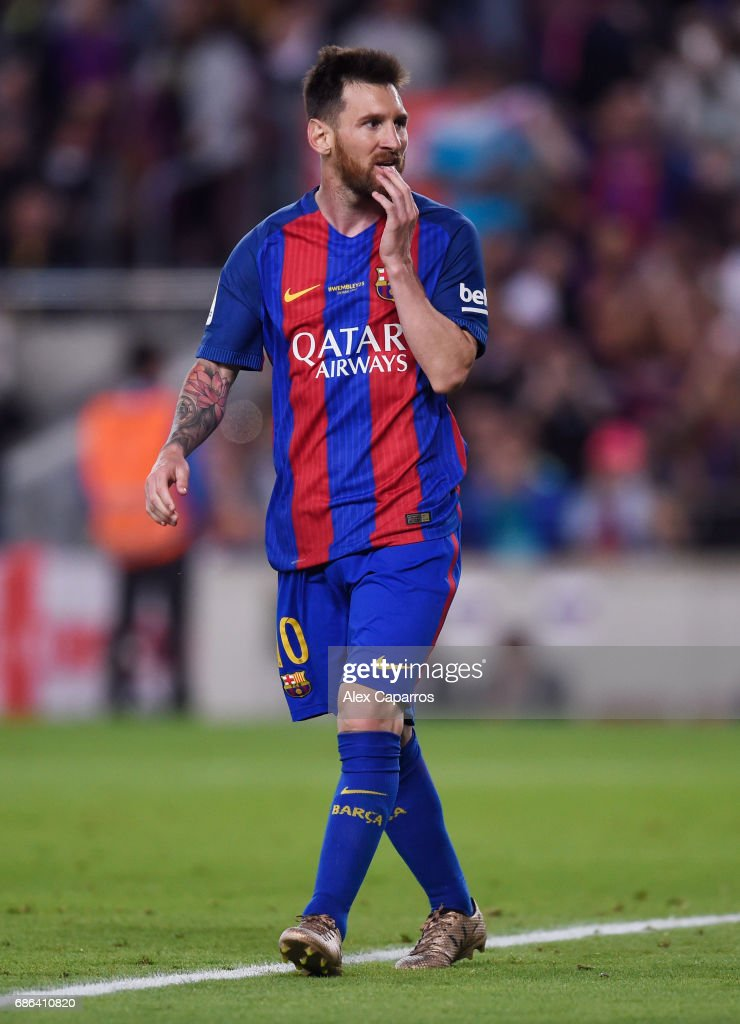 Lionel Messi of Barcelona reacts during the La Liga match between Barcelona and Eibar at Camp Nou on 21 May, 2017 in Barcelona, Spain.