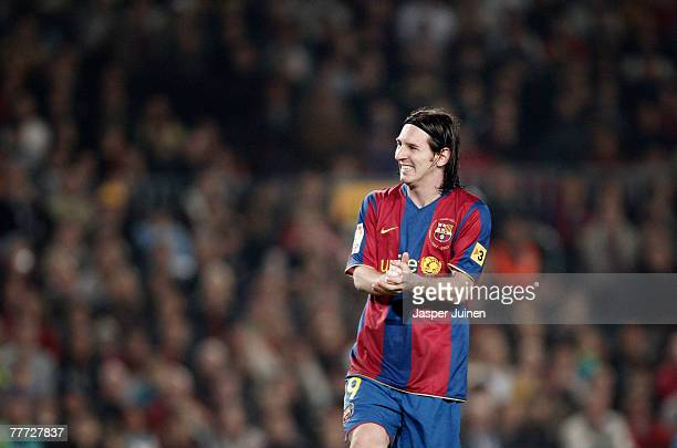Lionel Messi of Barcelona reacts during the La Liga match between Barcelona and Real Betis at the Camp Nou Stadium on November 4 2007 in Barcelona...