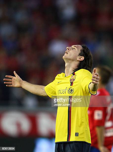 Lionel Messi of Barcelona reacts during the La Liga match between Numancia and Barcelona at the Los Pajaritos Stadium on August 31, 2008 in Soria,...