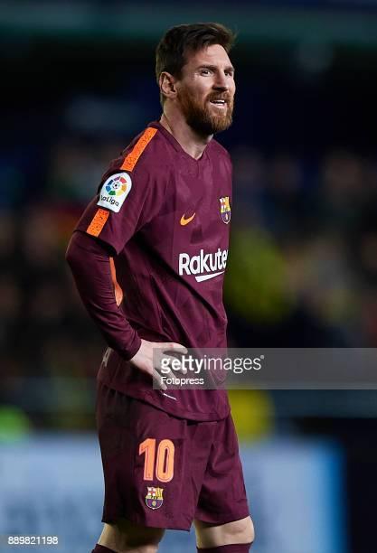 Lionel Messi of Barcelona reacts during the La Liga match between Villarreal and Barcelona at Estadio La Ceramica on December 10 2017 in Villarreal...