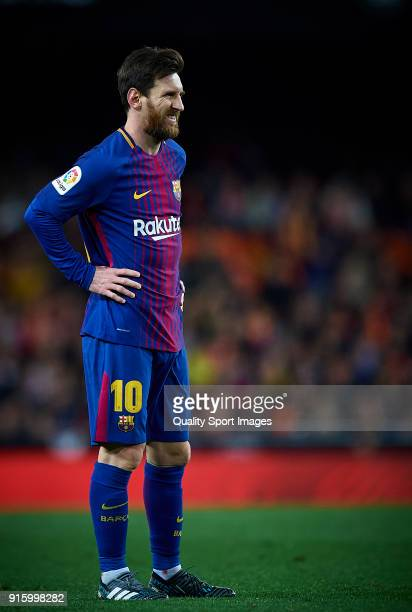 Lionel Messi of Barcelona reacts during the Semi Final Second Leg match of the Copa del Rey between Valencia CF and FC Barcelona on February 8 2018...
