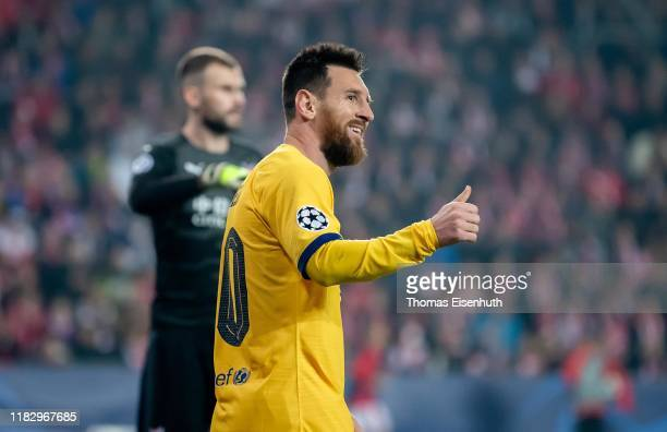 Lionel Messi of Barcelona reacts during the UEFA Champions League group F match between Slavia Praha and FC Barcelona at Sinobo Stadium on October 23...
