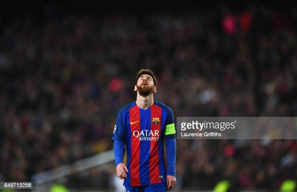 Lionel Messi of Barcelona reacts during the UEFA Champions League Round of 16 second leg match between FC Barcelona and Paris SaintGermain at Camp...
