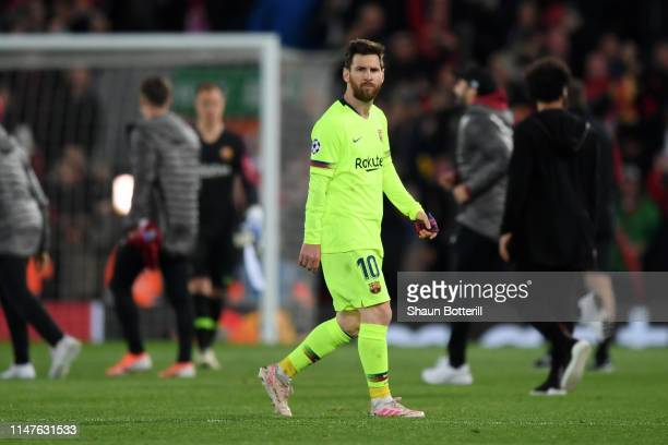 Lionel Messi of Barcelona reacts in defeat the UEFA Champions League Semi Final second leg match between Liverpool and Barcelona at Anfield on May 07...