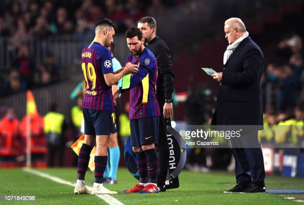 Lionel Messi of Barcelona replaces Munir El Haddadi as a substitute during the UEFA Champions League Group B match between FC Barcelona and Tottenham...