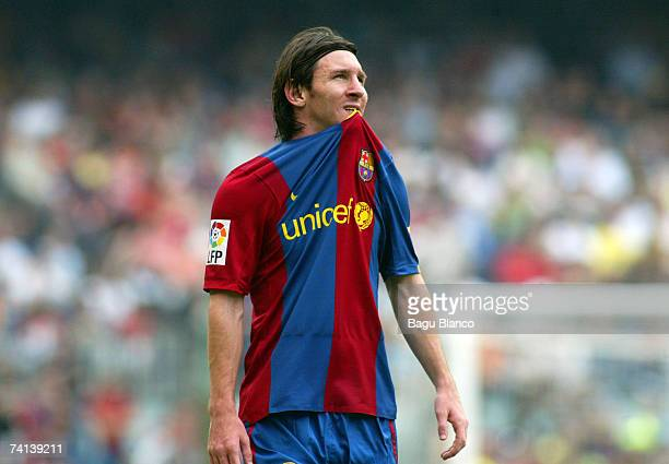 Lionel Messi of Barcelona rues a missed chance during the La Liga match between FC Barcelona and Real Betis at the Camp Nou on May 13 2007 in...