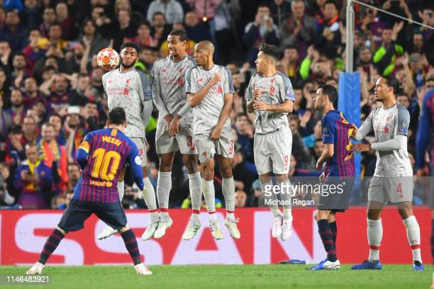 Lionel Messi of Barcelona scores a free-kick to make it 3-0 during the UEFA Champions League Semi Final first leg match between Barcelona and...