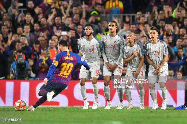 Lionel Messi of Barcelona scores a freekick to make it 30 during the UEFA Champions League Semi Final first leg match between Barcelona and Liverpool...