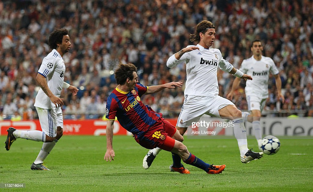Lionel Messi of Barcelona scores his second goal during the UEFA Champions League Semi Final first leg match between Real Madrid and Barcelona at Estadio Santiago Bernabeu on April 27, 2011 in Madrid, Spain.
