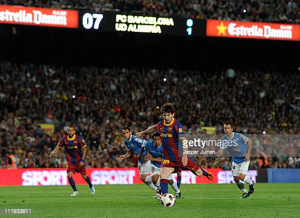 Lionel Messi of Barcelona scores his sides equalizing goal from the penalty spot during the la Liga match between FC Barcelona and UD Almeria at the...