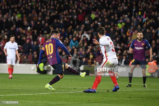 Lionel Messi of Barcelona scores his sides sixth goal during the Copa del Rey Quarter Final second leg match between FC Barcelona and Sevilla FC at...