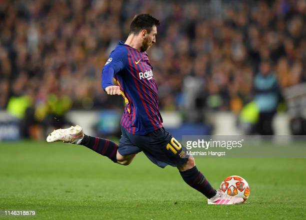 Lionel Messi of Barcelona scores his sides third goal from a free kick during the UEFA Champions League Semi Final first leg match between Barcelona...