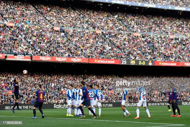 Lionel Messi of Barcelona scores his team's first goal during the La Liga match between FC Barcelona and RCD Espanyol at Camp Nou on March 30 2019 in...