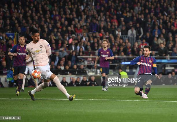 Lionel Messi of Barcelona scores his team's first goal during the UEFA Champions League Quarter Final second leg match between FC Barcelona and...