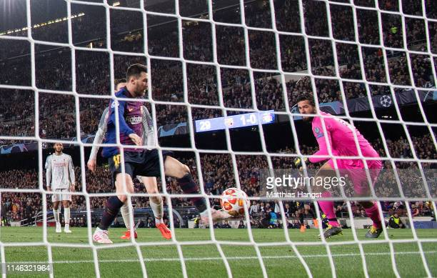 Lionel Messi of Barcelona scores his team's second goal during the UEFA Champions League Semi Final first leg match between Barcelona and Liverpool...
