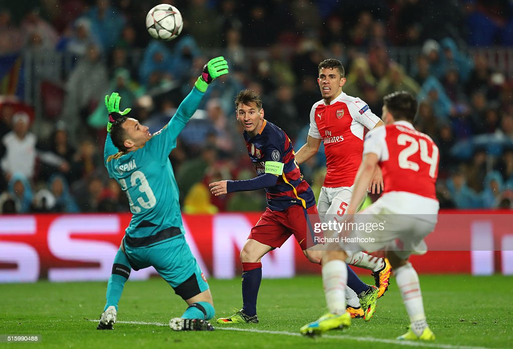 Lionel Messi of Barcelona scores his team's third goal during the UEFA Champions League round of 16, second Leg match between FC Barcelona and Arsenal FC at Camp Nou on March 16, 2016 in Barcelona, Spain.