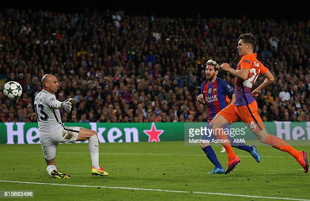 Lionel Messi of Barcelona scores his team's third goal to seal his hattrick and make the score 30 during the UEFA Champions League match between FC...