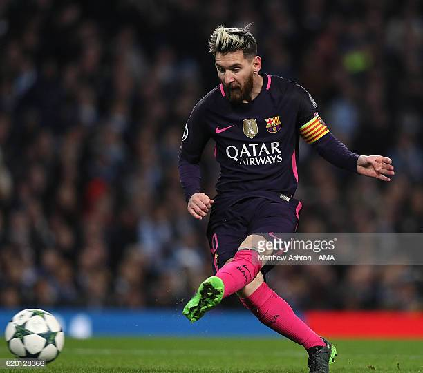 Lionel Messi of Barcelona scores the first goal to make the score 01 during the UEFA Champions League match between Manchester City FC and FC...