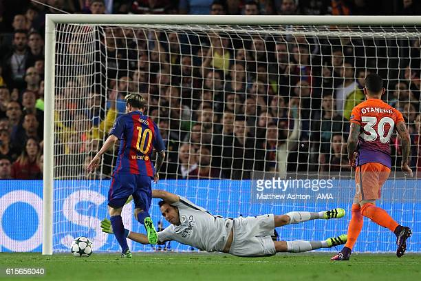 Lionel Messi of Barcelona scores the first goal to make the score 10 during the UEFA Champions League match between FC Barcelona and Manchester City...