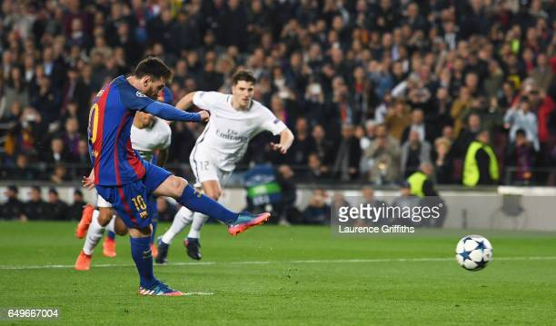Lionel Messi of Barcelona scores their third goal from a penalty during the UEFA Champions League Round of 16 second leg match between FC Barcelona...