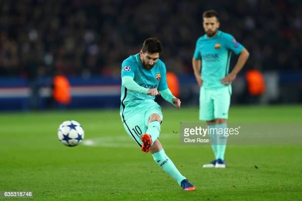 Lionel Messi of Barcelona takeks a freekick during the UEFA Champions League Round of 16 first leg match between Paris SaintGermain and FC Barcelona...