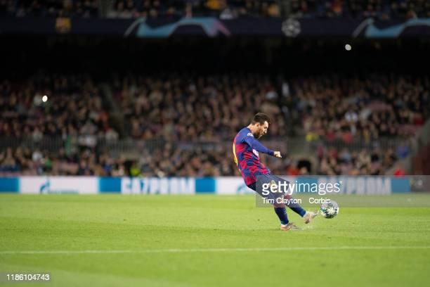 November 5: Lionel Messi of Barcelona takes a free kick during the Barcelona V Slavia Prague, UEFA Champions League group stage match at Estadio Camp...