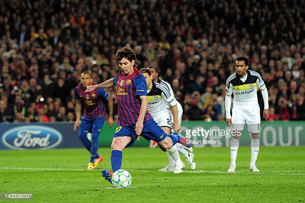Lionel Messi of Barcelona takes a penalty and misses during the UEFA Champions League Semi Final, second leg match between FC Barcelona and Chelsea...