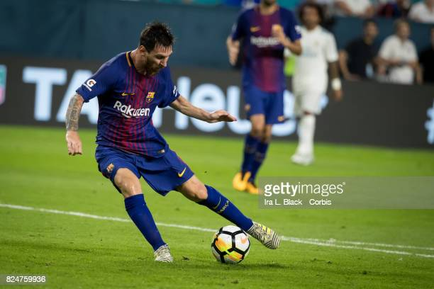 Lionel Messi of Barcelona takes it to the goal during the International Champions Cup El Clásico match between FC Barcelona and Real Madrid at the...