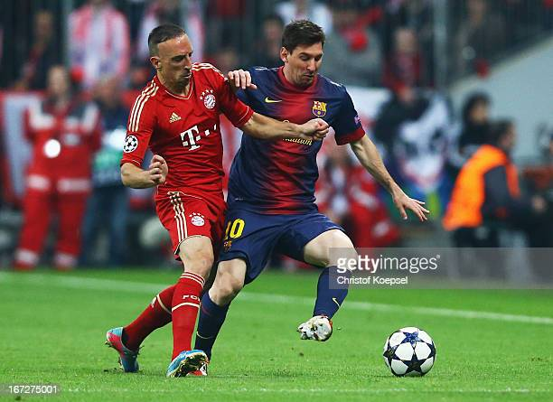 Lionel Messi of Barcelona takes on Franck Ribery of Bayern Muenchen during the UEFA Champions League Semi Final First Leg match between FC Bayern...