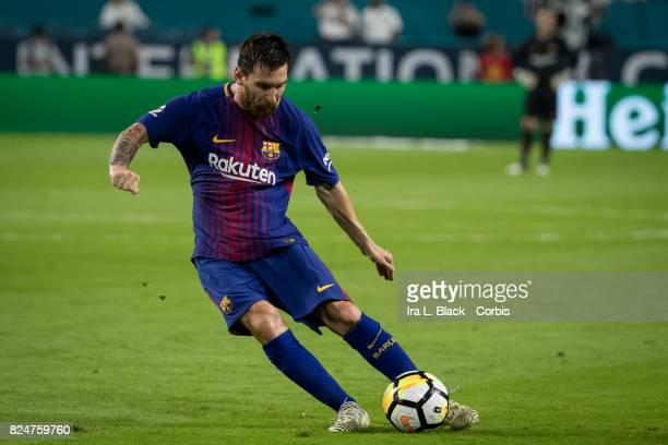 Lionel Messi of Barcelona takes the penalty kick during the International Champions Cup El Clásico match between FC Barcelona and Real Madrid at the...