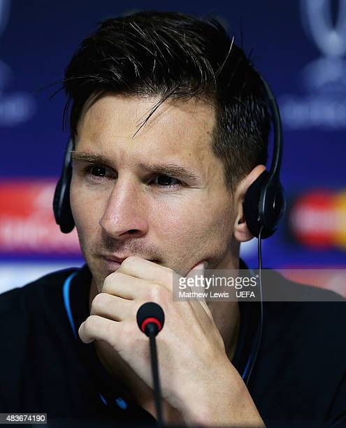 Lionel Messi of Barcelona talks to the media after being awarded the 'Player of the Match' award after the UEFA Super Cup between Barcelona and...