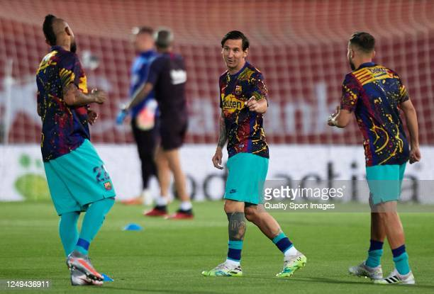 Lionel Messi of Barcelona warms up prior the Liga match between RCD Mallorca and FC Barcelona at Iberostar Estadi on June 13 2020 in Mallorca Spain