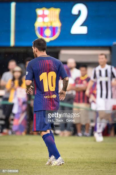 Lionel Messi of Barcelona with the score behind him during the International Champions Cup match between FC Barcelona and Juventus at the MetLife...