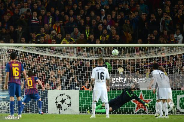 Lionel Messi of Barcelona's penalty hits the cross bar during the UEFA Champions League Semi Final, second leg match between FC Barcelona and Chelsea...