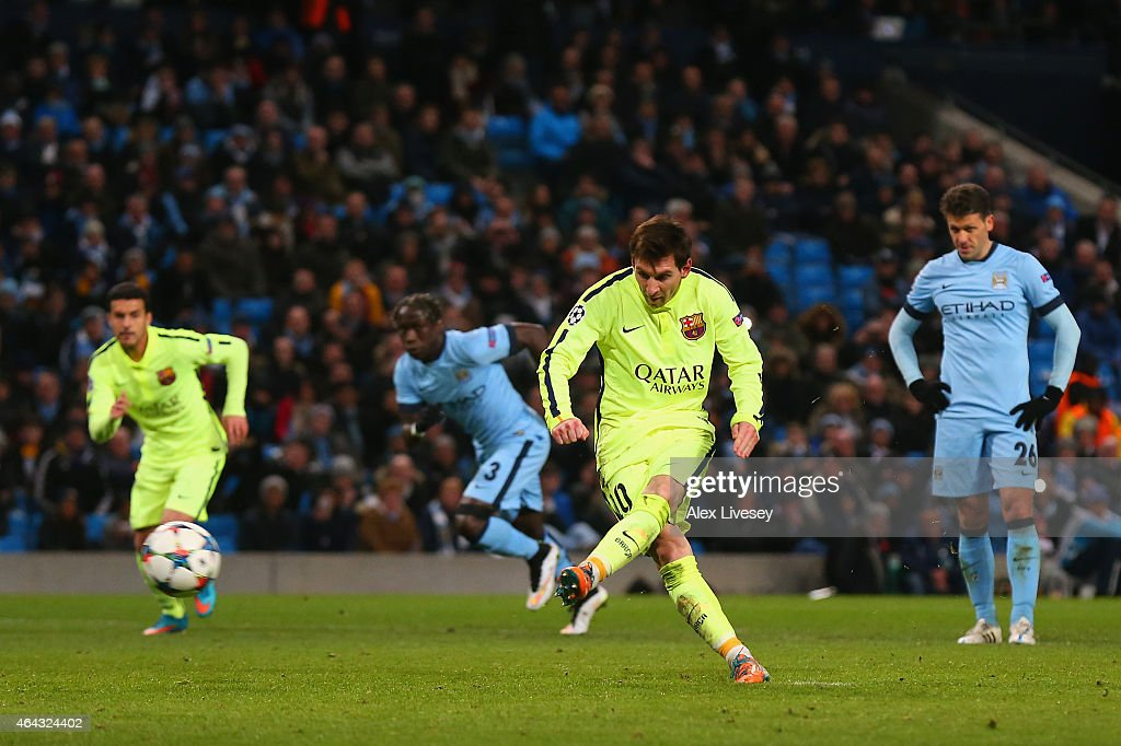 Lionel Messi of Barcelona's penalty is saved by Joe Hart of Manchester City during the UEFA Champions League Round of 16 match between Manchester City and Barcelona at Etihad Stadium on February 24, 2015 in Manchester, United Kingdom.