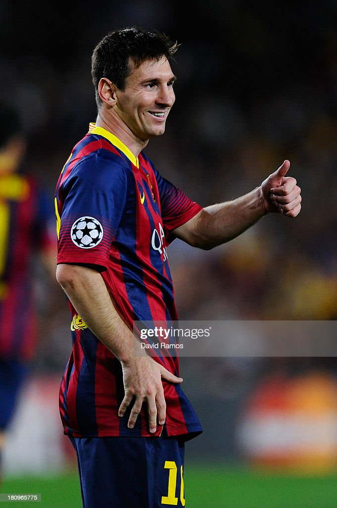Lionel Messi of FC Barcelona acknowledges his team-mate Neymar of FC Barcelona after an assist during the UEFA Champions League Group H match between FC Barcelona and Ajax Amsterdam ag the Camp Nou stadium on September 18, 2013 in Barcelona, Spain.