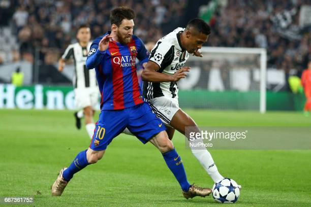 Lionel Messi of FC Barcelona and Alex Sandro of Juventus during the UEFA Champions League Quarter Final first leg match between Juventus and FC...