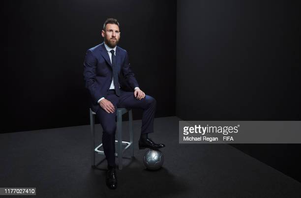 Lionel Messi of FC Barcelona and Argentina poses for a portrait in the photo booth prior to The Best FIFA Football Awards 2019 at Excelsior Hotel...