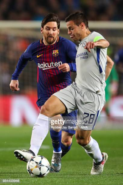Lionel Messi of FC Barcelona and Cesar Azpilicueta of Chelsea during the UEFA Champions League Round of 16 Second Leg match FC Barcelona and Chelsea...