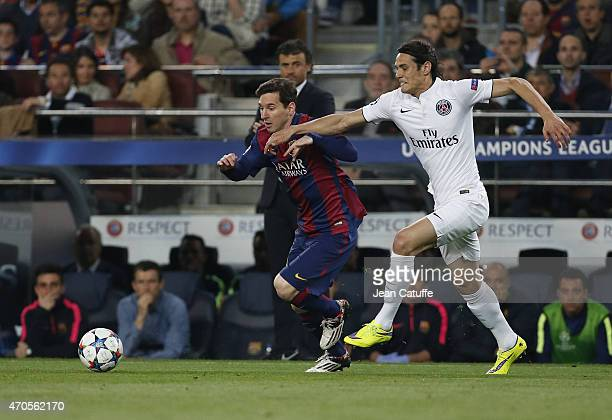Lionel Messi of FC Barcelona and Edinson Cavani of PSG in action during the UEFA Champions League Quarter Final Second Leg match between FC Barcelona...