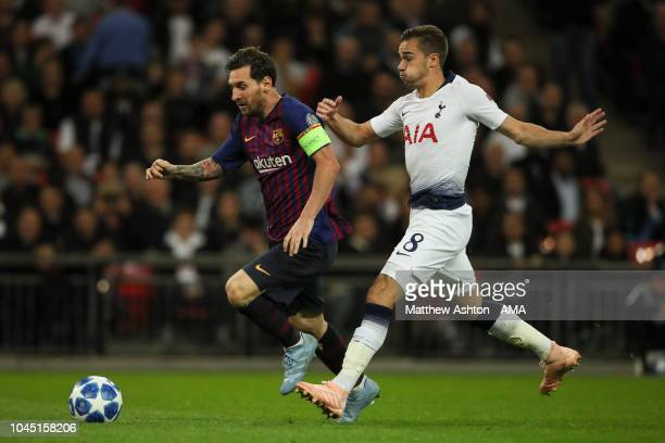 Lionel Messi of FC Barcelona and Harry Winks of Tottenham Hotspur during the Group B match of the UEFA Champions League between Tottenham Hotspur and...