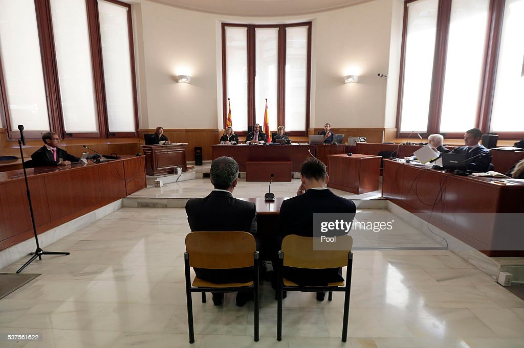 Lionel Messi (R) of FC Barcelona and his father Jorge Horacio Messi seen inside the court during the third day of the trial on June 2, 2016 in Barcelona, Spain. Lionel Messi and his father Jorge Messi, who manages his financial affairs, are accused of defrauding the Spanish Tax Agency of 4.1 million Euros ($4.6 million, £3.2 million) by using companies based in tax havens such as Belize and Uruguay to conceal earnings from image rights during years 2007 to 2009.