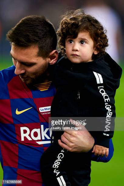 Lionel Messi of FC Barcelona and his son Ciro Messi prior to the Liga match between FC Barcelona and RCD Mallorca at Camp Nou on December 07 2019 in...