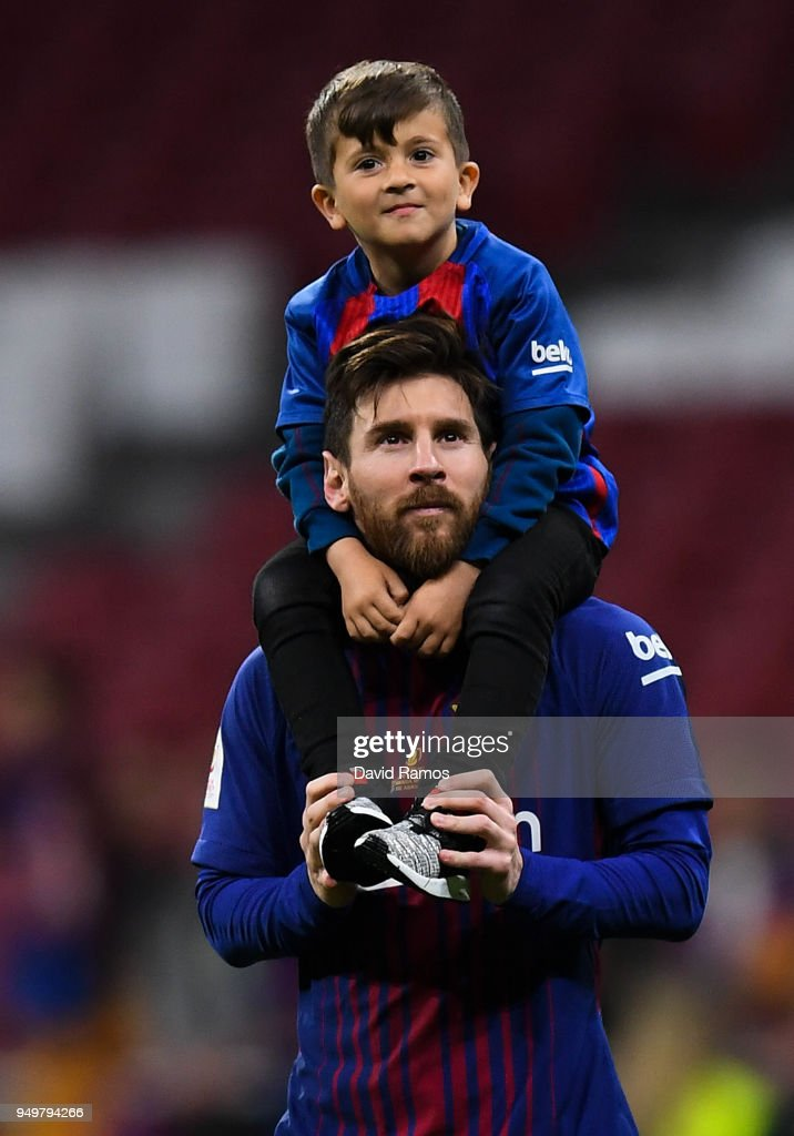 Lionel Messi of FC Barcelona and his son thiago enjoy the celebration after winning the Spanish Copa del Rey Final match between Barcelona and Sevilla at Wanda Metropolitano stadium on April 21, 2018 in Barcelona, Spain.