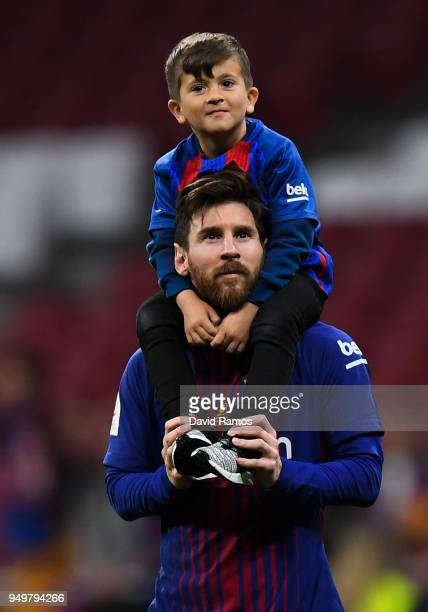 Lionel Messi of FC Barcelona and his son thiago enjoy the celebration after winning the Spanish Copa del Rey Final match between Barcelona and...