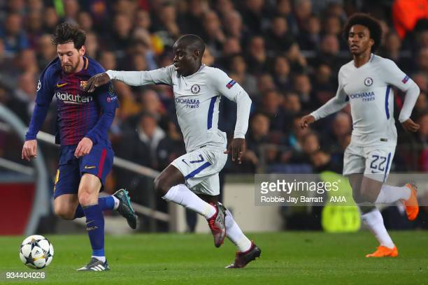 Lionel Messi of FC Barcelona and Ngolo Kante of Chelsea during the UEFA Champions League Round of 16 Second Leg match FC Barcelona and Chelsea FC at...
