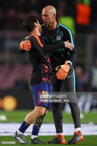 Lionel Messi of FC Barcelona and Wilfredo Caballero of Chelsea prior to the UEFA Champions League Round of 16 Second Leg match FC Barcelona and...