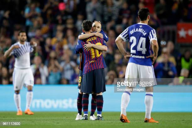 Lionel Messi of FC Barcelona Andries Iniesta of FC Barcelona during the La Liga Santander match between FC Barcelona v Real Sociedad at the Camp Nou...