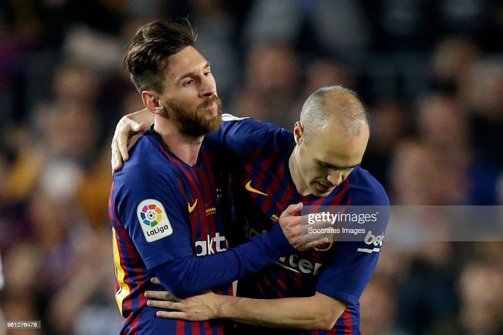 Lionel Messi of FC Barcelona, Andries Iniesta of FC Barcelona during the La Liga Santander match between FC Barcelona v Real Sociedad at the Camp Nou on May 20, 2018 in Barcelona Spain