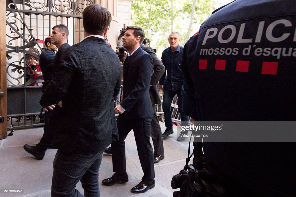 Lionel Messi of FC Barcelona arrives at the courthouse on June 2, 2016 in Barcelona, Spain. Lionel Messi and his father Jorge Messi, who manages his financial affairs, are accused of defrauding the Spanish Tax Agency of 4.1 million Euros ($4.6 million, £3.2 million) by using companies based in tax havens such as Belize and Uruguay to conceal earnings from image rights during years 2007 to 2009.